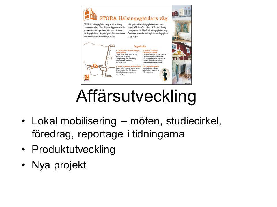 Affärsutveckling •Lokal mobilisering – möten, studiecirkel, föredrag, reportage i tidningarna •Produktutveckling •Nya projekt