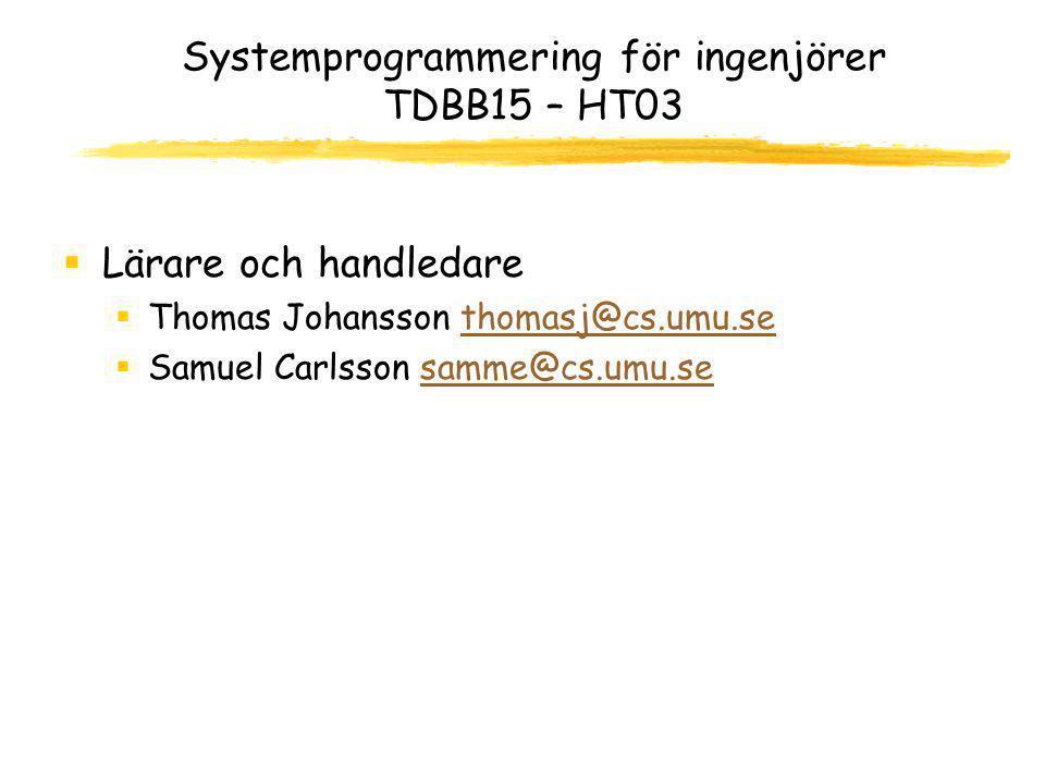 I dag  Information om kursen  Labbar  Registrering  Introduktion till C och Unix