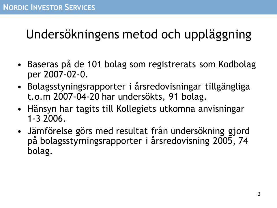 4 Bolag som exkluderats •Följande kodbolag har inte medtagits i undersök- ningen, då årsredovisning ej funnits tillgänglig i tid: –AarhusKarlshamn (7 maj) –Lundin Petroleum (2 maj) –Melker Schörling (8 maj) –Metro (vet ej, men AGM är 29 maj) –New Wave Group (27 april) –Oriflame (vet ej, men AGM är 21 maj) –Securitas Direct (2 maj) –Securitas Systems (25 april) –Tradedoubler (vet ej, men AGM är 24 maj) –Transcom (vet ej, men AGM är 29 maj)