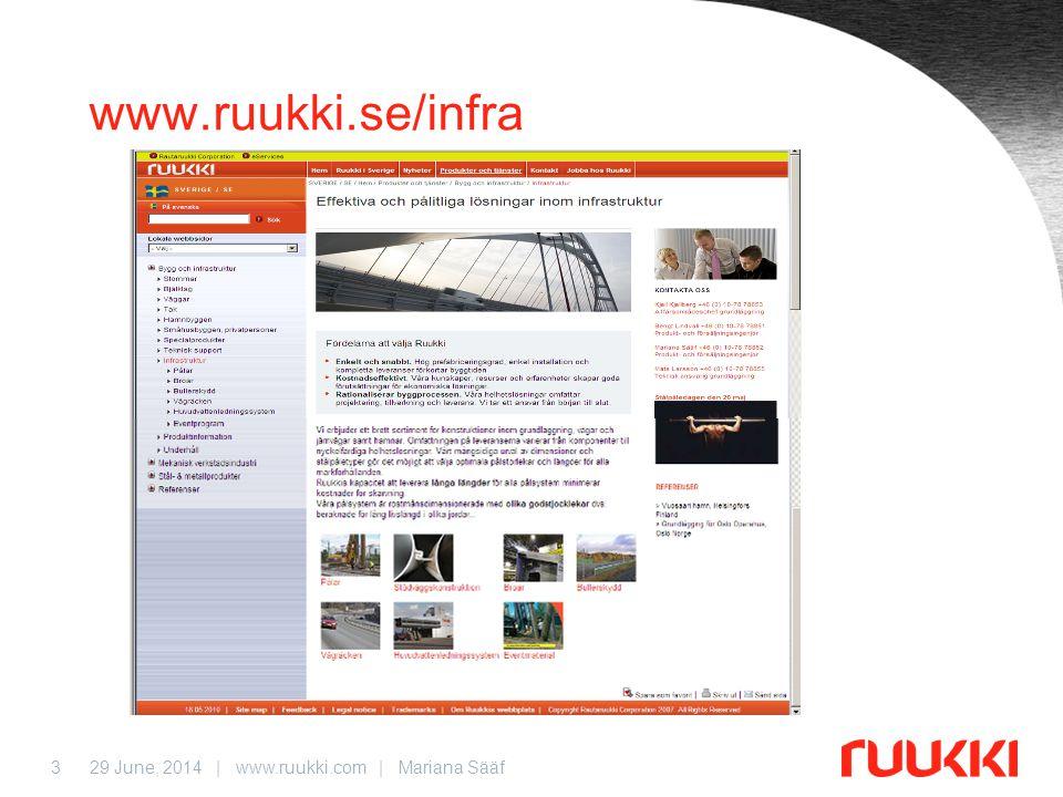 29 June, 2014 | www.ruukki.com | Mariana Sääf3 www.ruukki.se/infra