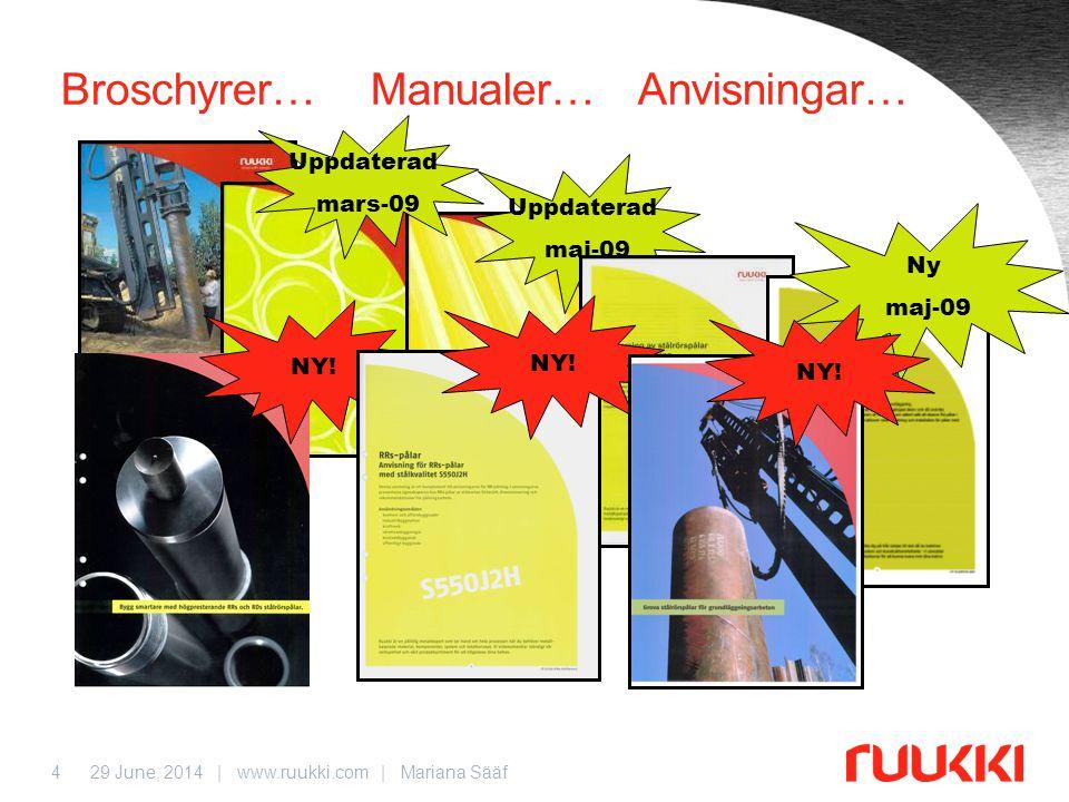 29 June, 2014 | www.ruukki.com | Mariana Sääf4 Broschyrer… Manualer… Anvisningar… Uppdaterad maj-09 Uppdaterad mars-09 Ny maj-09 NY!