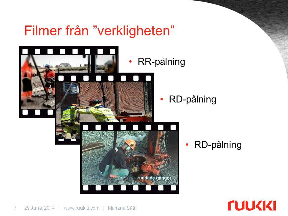 29 June, 2014 | www.ruukki.com | Mariana Sääf7 Filmer från verkligheten •RR-pålning •RD-pålning