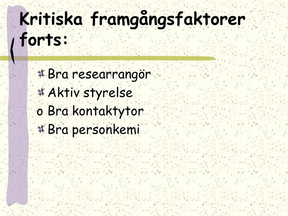 Kritiska framgångsfaktorer forts: Bra researrangör Aktiv styrelse oBra kontaktytor Bra personkemi