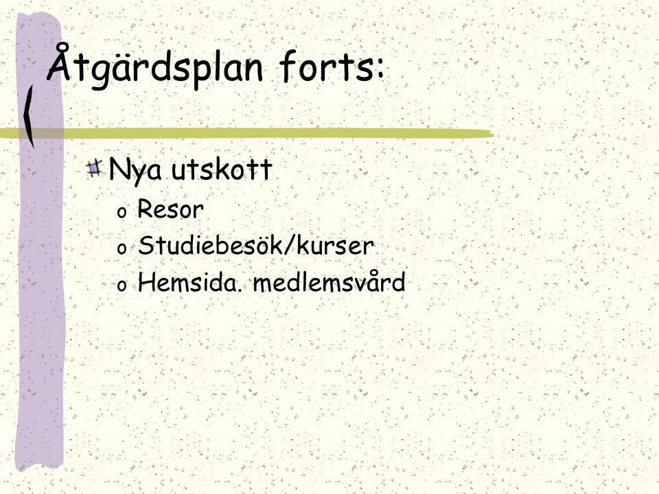 Åtgärdsplan forts: Nya utskott o Resor o Studiebesök/kurser o Hemsida. medlemsvård