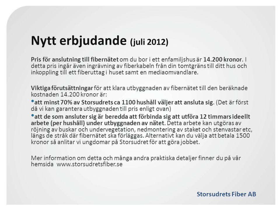 Storsudrets Fiber AB Nytt erbjudande (juli 2012) Pris för anslutning till fibernätet om du bor i ett enfamiljshus är 14.200 kronor. I detta pris ingår