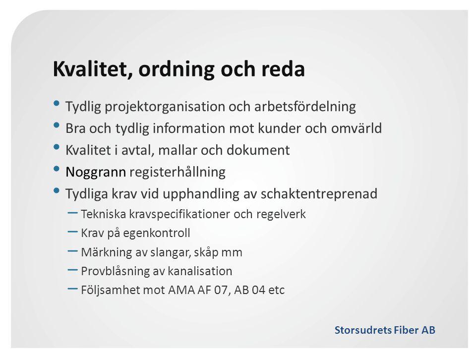 Storsudrets Fiber AB Kvalitet, ordning och reda • Tydlig projektorganisation och arbetsfördelning • Bra och tydlig information mot kunder och omvärld