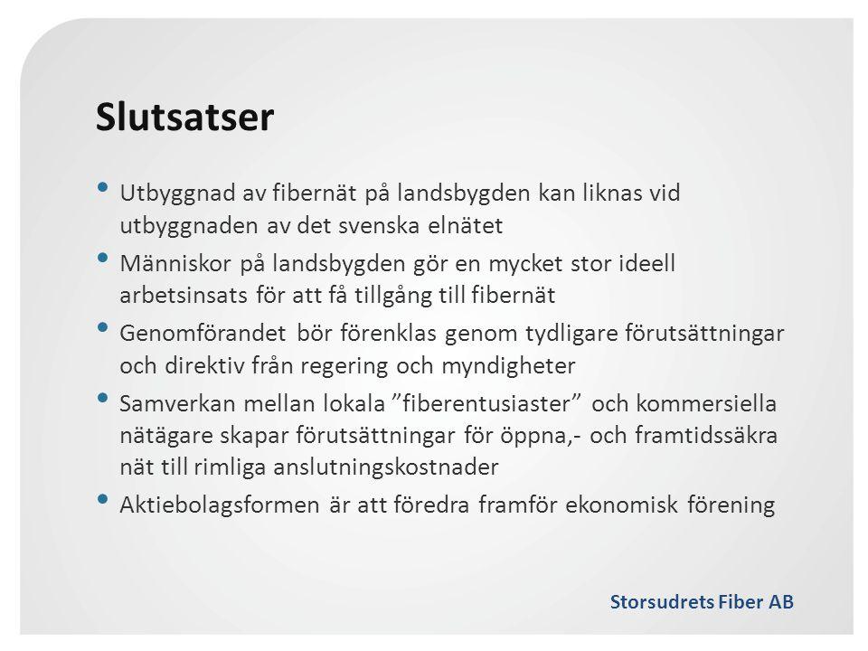 Storsudrets Fiber AB Slutsatser • Utbyggnad av fibernät på landsbygden kan liknas vid utbyggnaden av det svenska elnätet • Människor på landsbygden gö