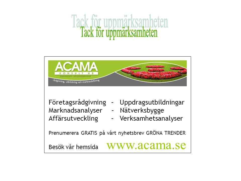 Företagsrådgivning – Uppdragsutbildningar Marknadsanalyser – Nätverksbygge Affärsutveckling – Verksamhetsanalyser Prenumerera GRATIS på vårt nyhetsbrev GRÖNA TRENDER Besök vår hemsida www.acama.se
