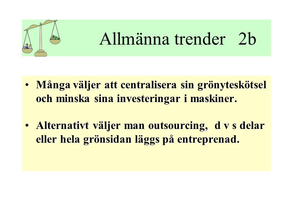 Allmänna trender 2b •Många väljer att centralisera sin grönyteskötsel och minska sina investeringar i maskiner.