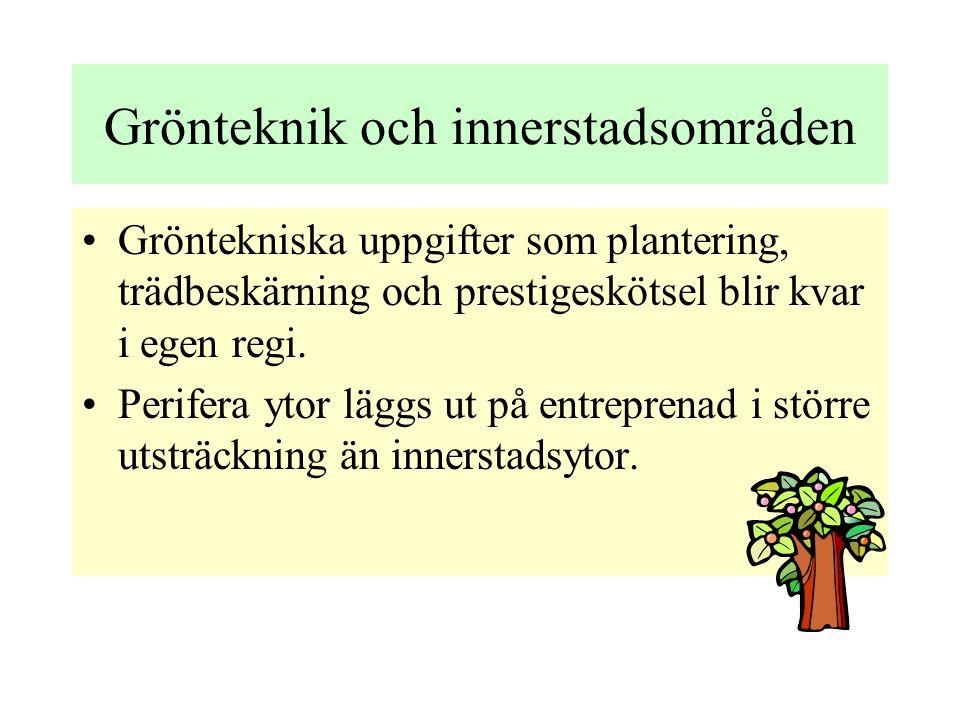 Grönteknik och innerstadsområden •Gröntekniska uppgifter som plantering, trädbeskärning och prestigeskötsel blir kvar i egen regi.
