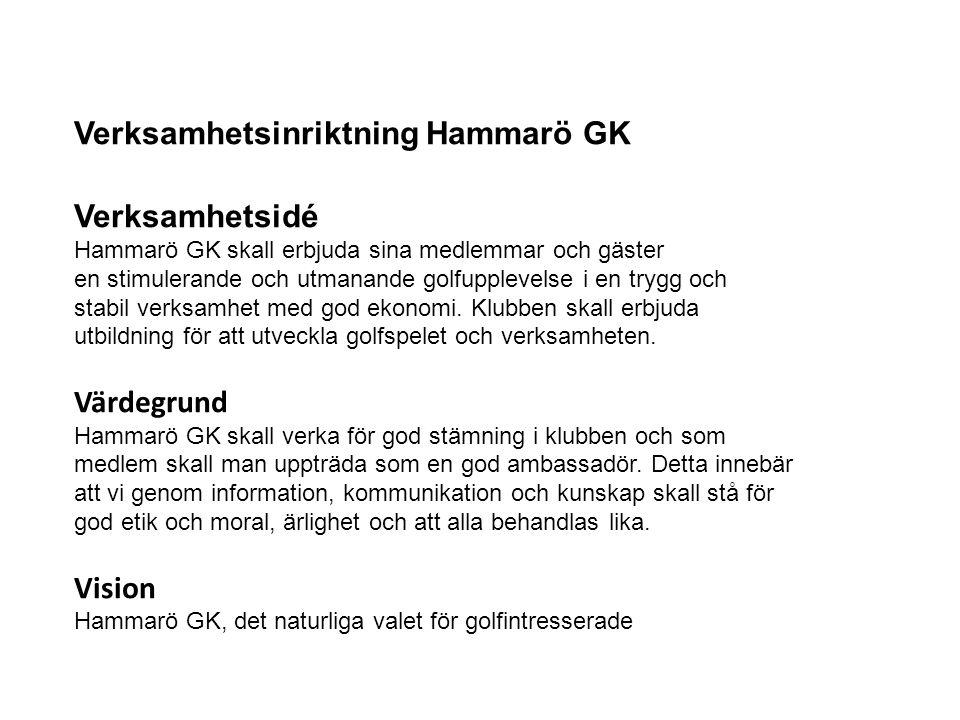 Verksamhetsinriktning Hammarö GK Verksamhetsidé Hammarö GK skall erbjuda sina medlemmar och gäster en stimulerande och utmanande golfupplevelse i en t
