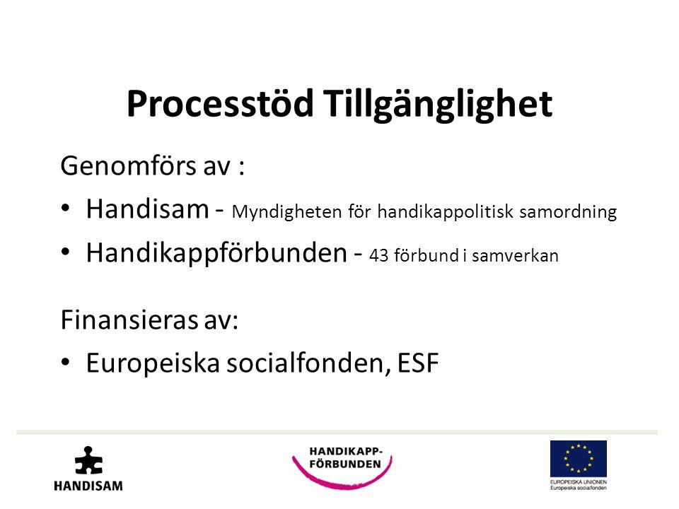 Processtöd Tillgänglighet Genomförs av : • Handisam - Myndigheten för handikappolitisk samordning • Handikappförbunden - 43 förbund i samverkan Finans