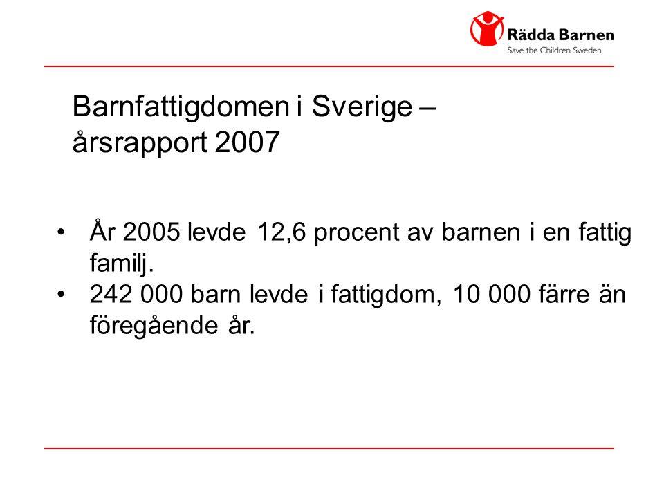 Barnfattigdomen i Sverige – årsrapport 2007 • År 2005 levde 12,6 procent av barnen i en fattig familj. • 242 000 barn levde i fattigdom, 10 000 färre