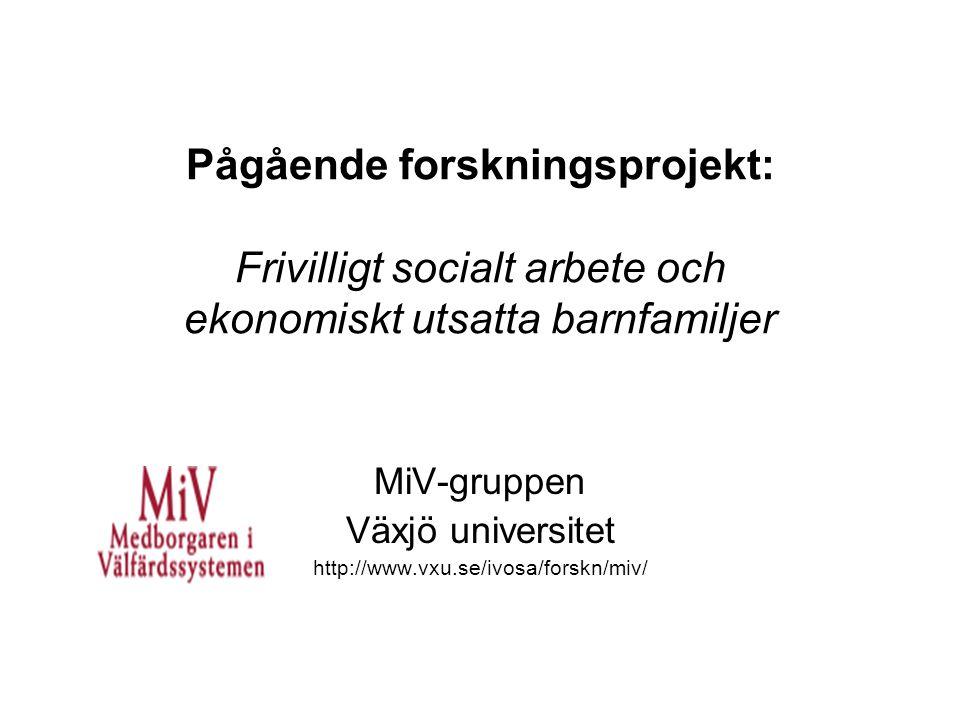 Pågående forskningsprojekt: Frivilligt socialt arbete och ekonomiskt utsatta barnfamiljer MiV-gruppen Växjö universitet http://www.vxu.se/ivosa/forskn