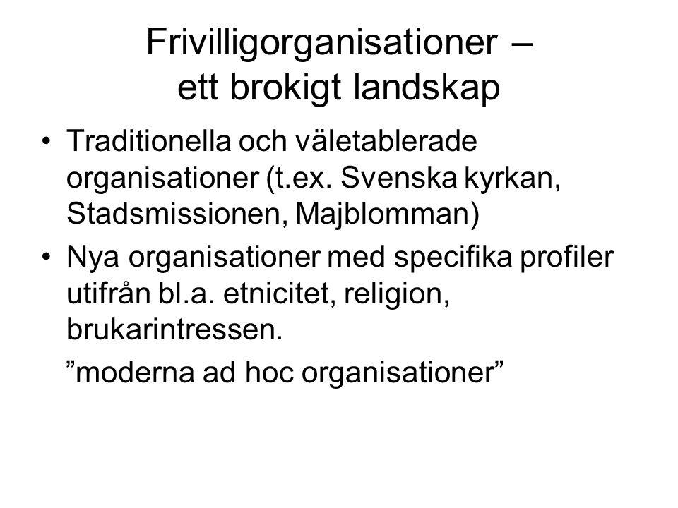 Frivilligorganisationer – ett brokigt landskap •Traditionella och väletablerade organisationer (t.ex. Svenska kyrkan, Stadsmissionen, Majblomman) •Nya