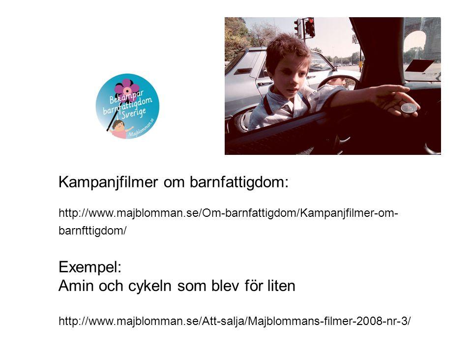Kampanjfilmer om barnfattigdom: http://www.majblomman.se/Om-barnfattigdom/Kampanjfilmer-om- barnfttigdom/ Exempel: Amin och cykeln som blev för liten