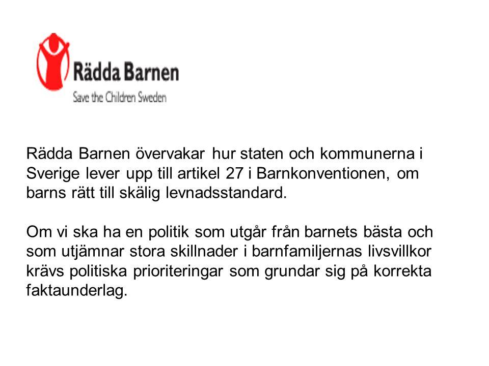 Rädda Barnen övervakar hur staten och kommunerna i Sverige lever upp till artikel 27 i Barnkonventionen, om barns rätt till skälig levnadsstandard. Om