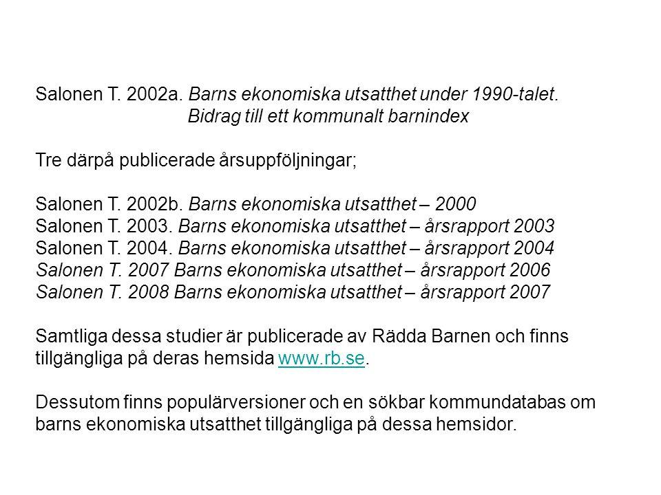 Salonen T. 2002a. Barns ekonomiska utsatthet under 1990-talet. Bidrag till ett kommunalt barnindex Tre därpå publicerade årsuppföljningar; Salonen T.