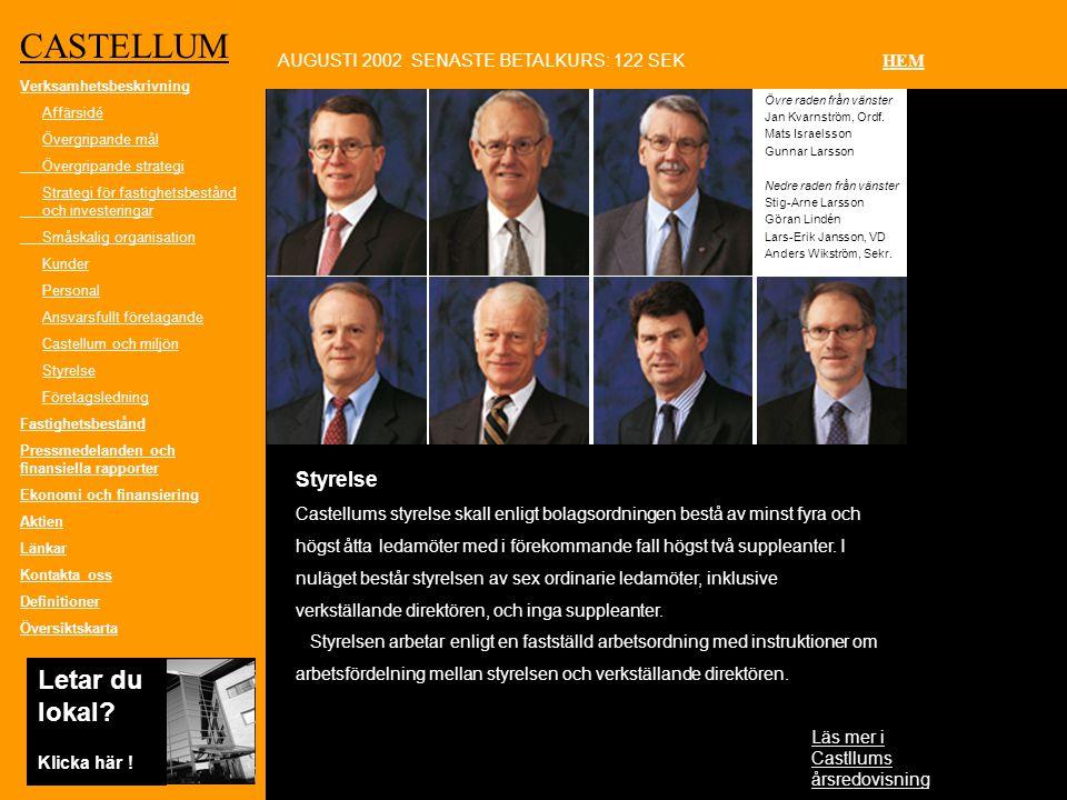 Styrelse Castellums styrelse skall enligt bolagsordningen bestå av minst fyra och högst åtta ledamöter med i förekommande fall högst två suppleanter.