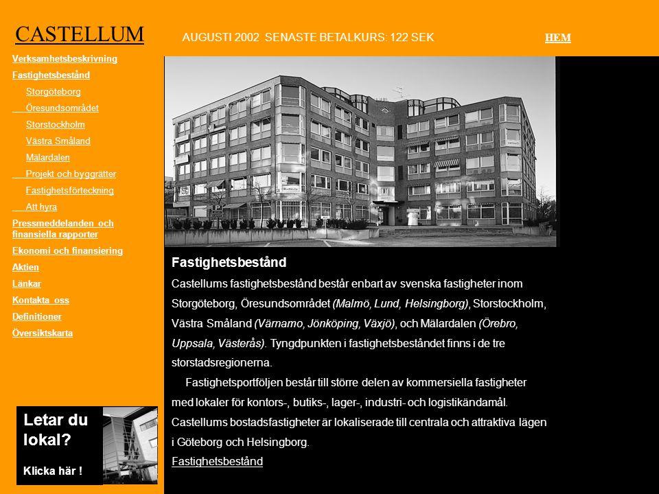 CASTELLUM Fastighetsbestånd Castellums fastighetsbestånd består enbart av svenska fastigheter inom Storgöteborg, Öresundsområdet (Malmö, Lund, Helsingborg), Storstockholm, Västra Småland (Värnamo, Jönköping, Växjö), och Mälardalen (Örebro, Uppsala, Västerås).