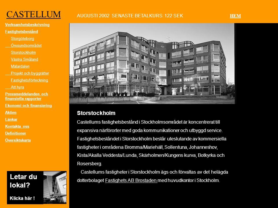 CASTELLUM Storstockholm Castellums fastighetsbestånd i Stockholmsområdet är koncentrerat till expansiva närförorter med goda kommunikationer och utbyggd service.