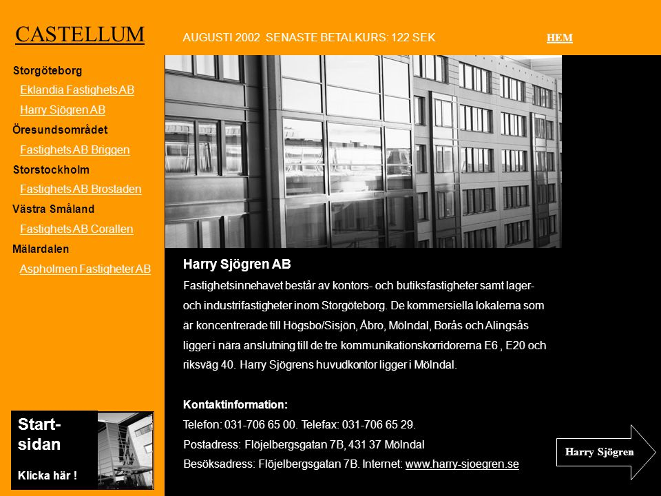 Ko CASTELLUM Harry Sjögren AB Fastighetsinnehavet består av kontors- och butiksfastigheter samt lager- och industrifastigheter inom Storgöteborg.