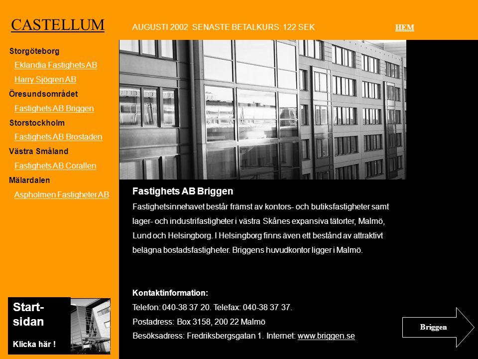 Ko CASTELLUM Fastighets AB Briggen Fastighetsinnehavet består främst av kontors- och butiksfastigheter samt lager- och industrifastigheter i västra Skånes expansiva tätorter, Malmö, Lund och Helsingborg.