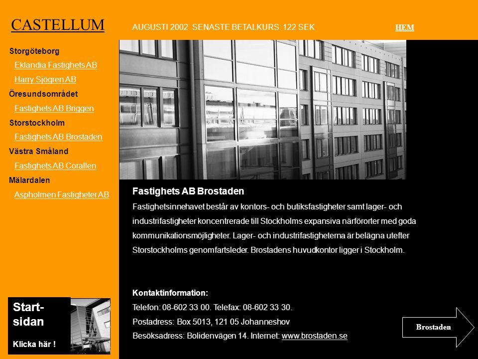 Ko CASTELLUM Fastighets AB Brostaden Fastighetsinnehavet består av kontors- och butiksfastigheter samt lager- och industrifastigheter koncentrerade till Stockholms expansiva närförorter med goda kommunikationsmöjligheter.