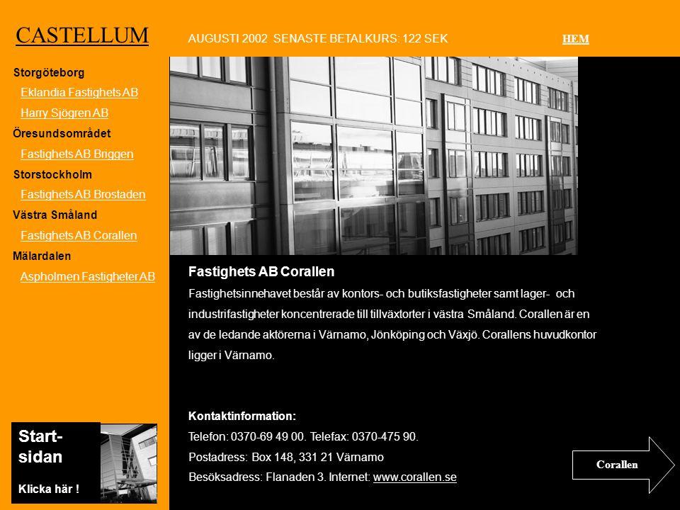 Ko CASTELLUM Fastighets AB Corallen Fastighetsinnehavet består av kontors- och butiksfastigheter samt lager- och industrifastigheter koncentrerade till tillväxtorter i västra Småland.