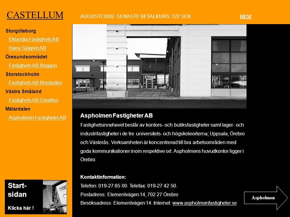 Ko CASTELLUM Aspholmen Fastigheter AB Fastighetsinnehavet består av kontors- och butiksfastigheter samt lager- och industrifastigheter i de tre universitets- och högskoleorterna; Uppsala, Örebro och Västerås.