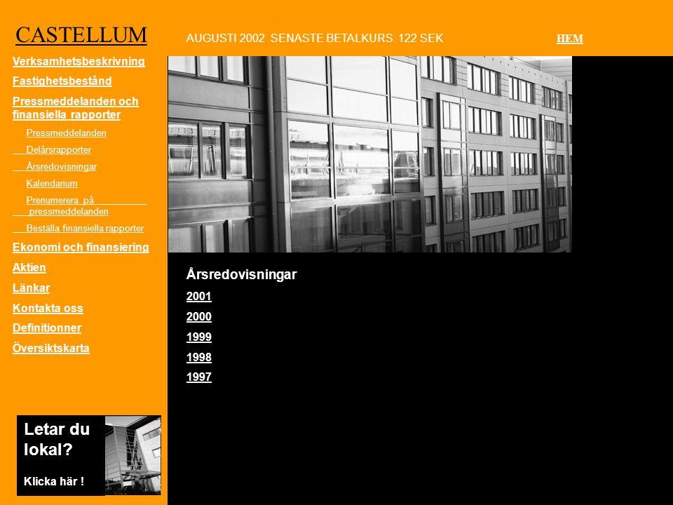 CASTELLUM Årsredovisningar 2001 2000 1999 1998 1997 AUGUSTI 2002 SENASTE BETALKURS: 122 SEK HEM Letar du lokal.