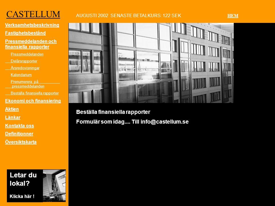 CASTELLUM Beställa finansiella rapporter Formulär som idag....