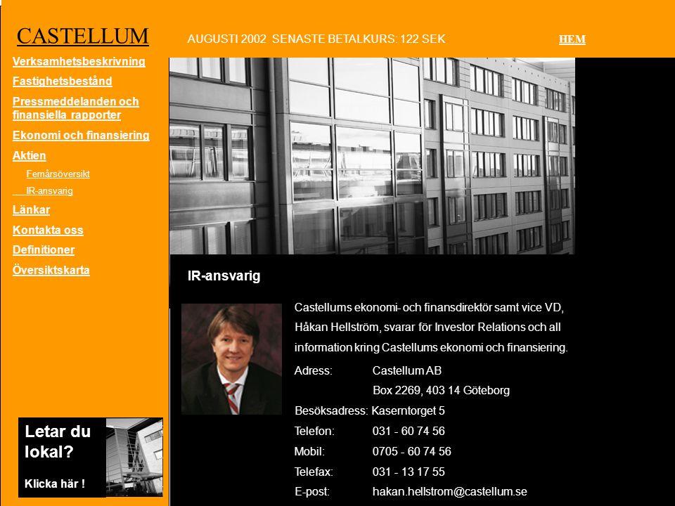 CASTELLUM IR-ansvarig AUGUSTI 2002 SENASTE BETALKURS: 122 SEK HEM Letar du lokal.