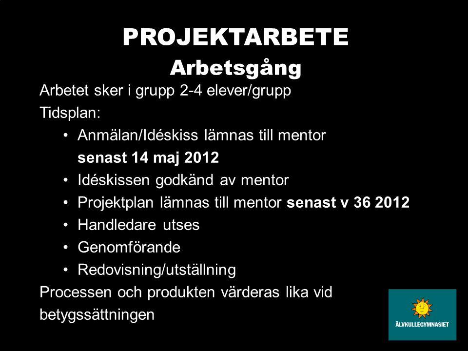 PROJEKTARBETE Arbetsgång Arbetet sker i grupp 2-4 elever/grupp Tidsplan: •Anmälan/Idéskiss lämnas till mentor senast 14 maj 2012 •Idéskissen godkänd a