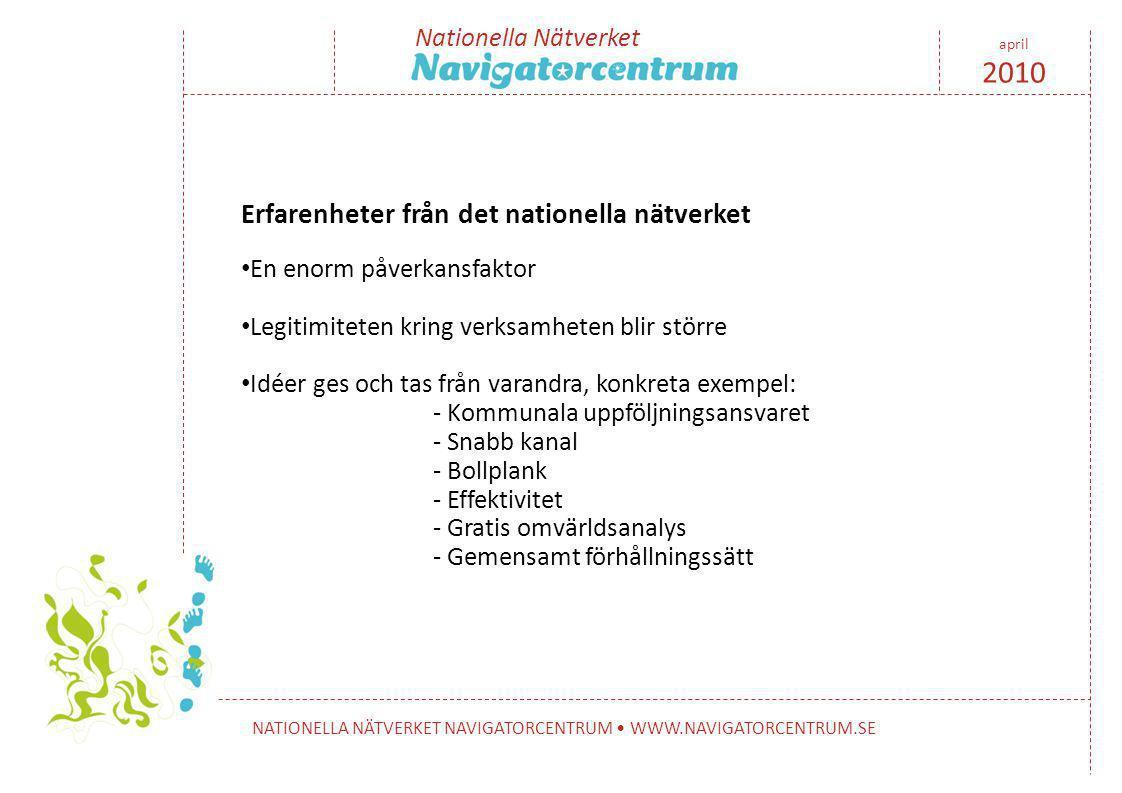 Nationella Nätverket NATIONELLA NÄTVERKET NAVIGATORCENTRUM • WWW.NAVIGATORCENTRUM.SE april 2010 Erfarenheter från det nationella nätverket • En enorm