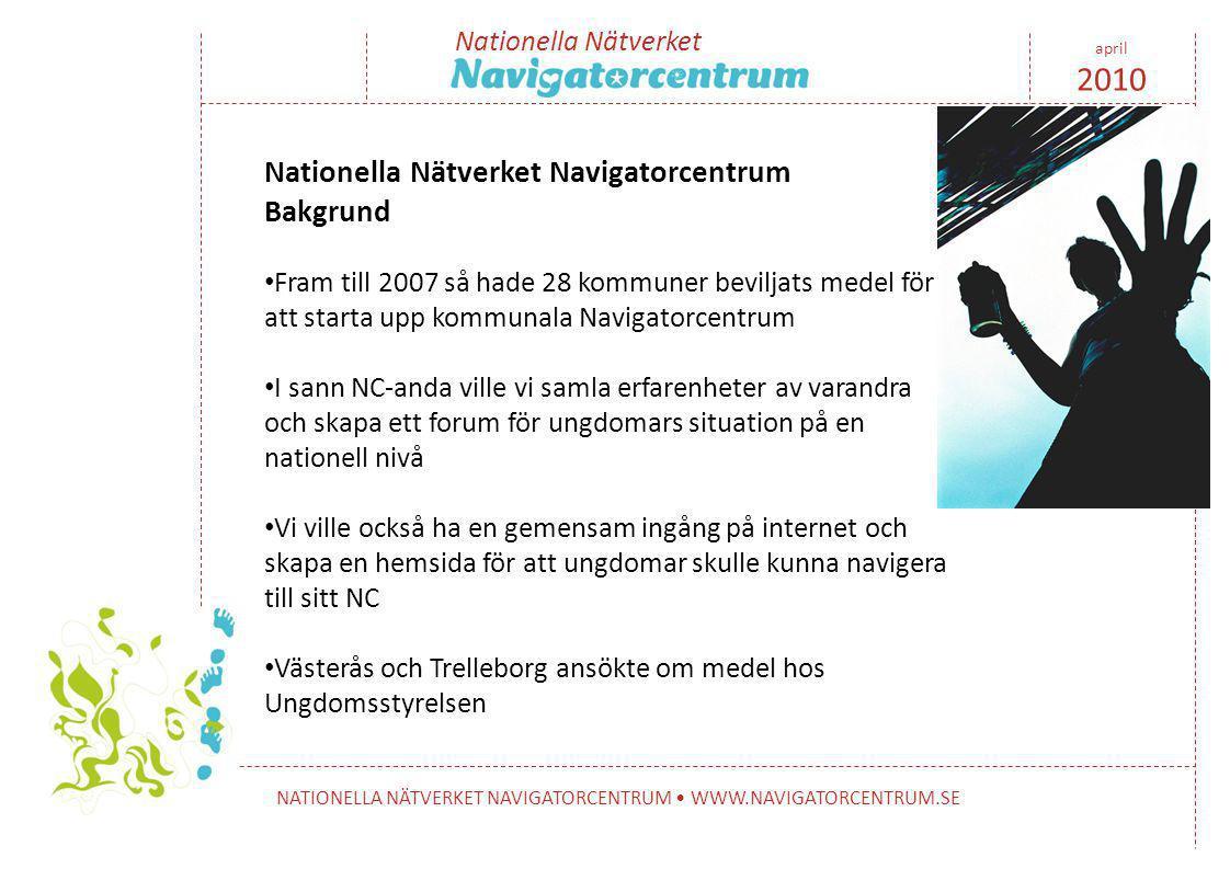 Nationella Nätverket NATIONELLA NÄTVERKET NAVIGATORCENTRUM • WWW.NAVIGATORCENTRUM.SE april 2010 Nationella Nätverket Navigatorcentrum Bakgrund • Fram till 2007 så hade 28 kommuner beviljats medel för att starta upp kommunala Navigatorcentrum • I sann NC-anda ville vi samla erfarenheter av varandra och skapa ett forum för ungdomars situation på en nationell nivå • Vi ville också ha en gemensam ingång på internet och skapa en hemsida för att ungdomar skulle kunna navigera till sitt NC • Västerås och Trelleborg ansökte om medel hos Ungdomsstyrelsen