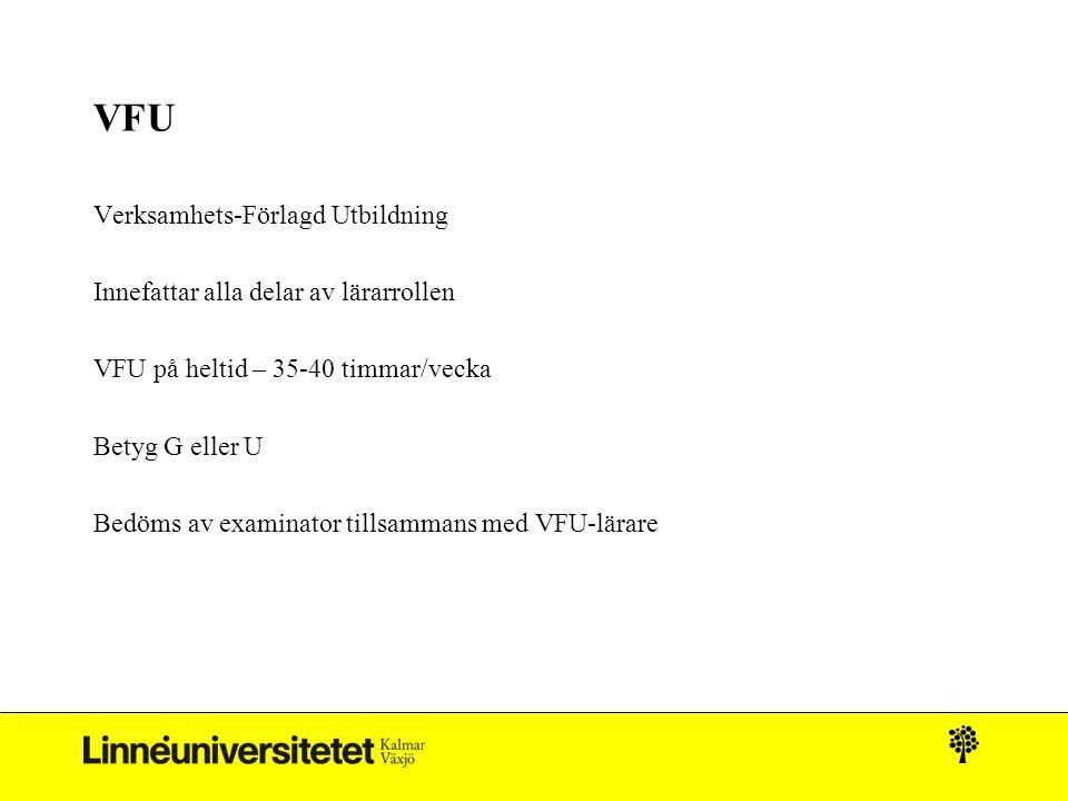 VFU Verksamhets-Förlagd Utbildning Innefattar alla delar av lärarrollen VFU på heltid – 35-40 timmar/vecka Betyg G eller U Bedöms av examinator tillsammans med VFU-lärare