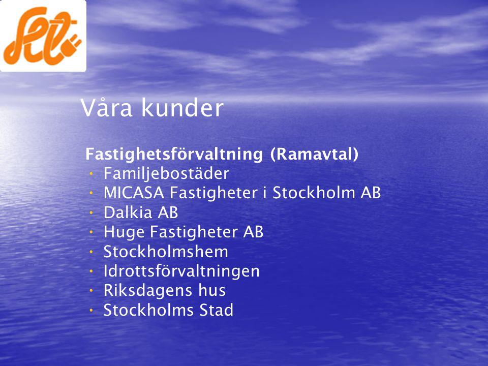Våra kunder Fastighetsförvaltning (Ramavtal) • • Familjebostäder • • MICASA Fastigheter i Stockholm AB • • Dalkia AB • • Huge Fastigheter AB • • Stock