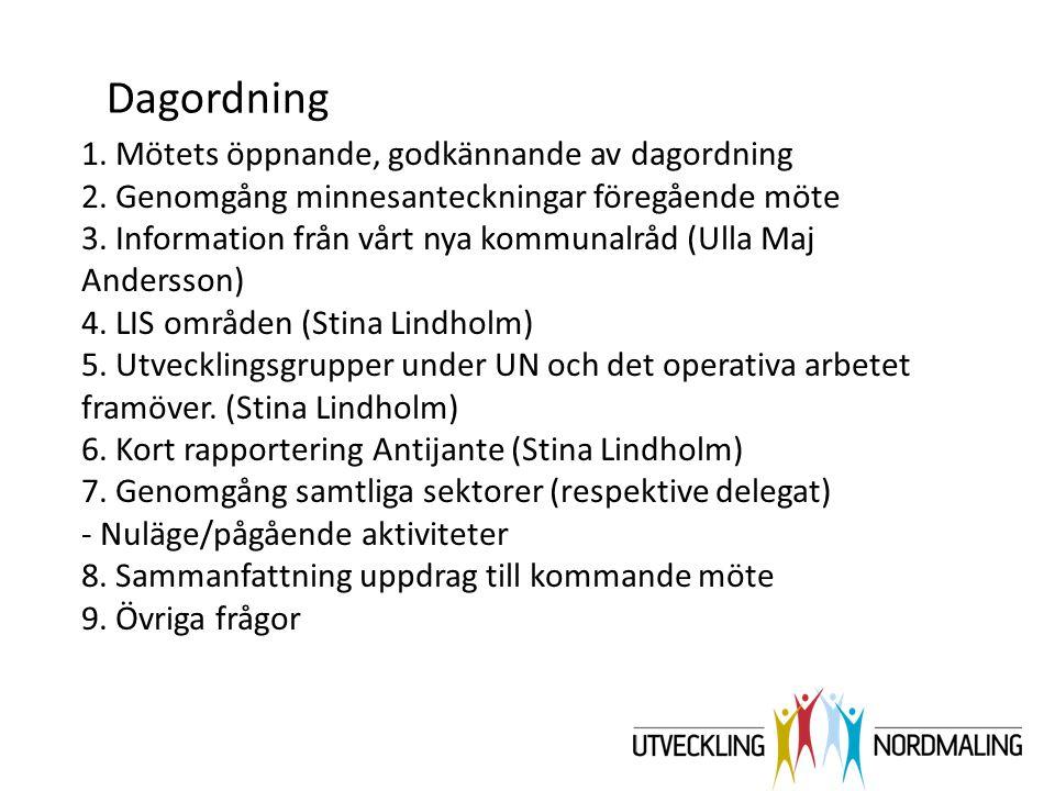 1. Mötets öppnande, godkännande av dagordning 2. Genomgång minnesanteckningar föregående möte 3. Information från vårt nya kommunalråd (Ulla Maj Ander