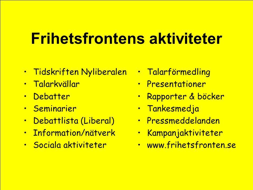 Frihetsfrontens aktivister •Från moderater till socialdemokrater •Många är inte alls partipolitiska •Frihetsvänner i allmänhet •Individualister och motståndare till kollektivism •Anhängare av kapitalism & frihandel •Ideologiskt & filosofiskt intresserade