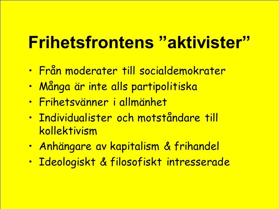 """Frihetsfrontens """"aktivister"""" •Från moderater till socialdemokrater •Många är inte alls partipolitiska •Frihetsvänner i allmänhet •Individualister och"""