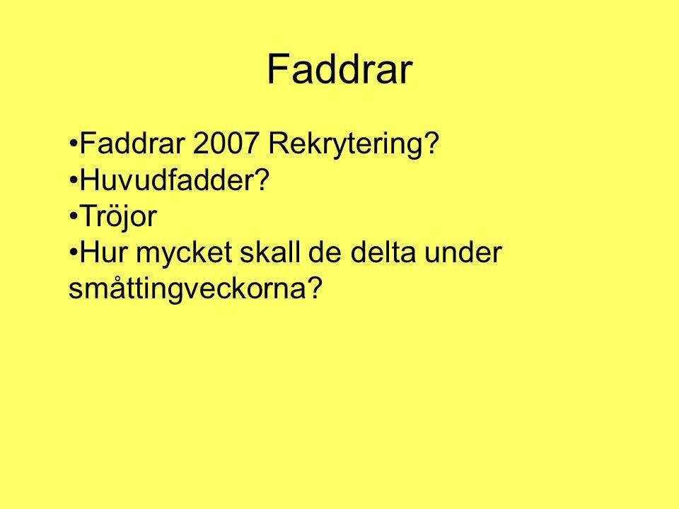 Faddrar •Faddrar 2007 Rekrytering. •Huvudfadder.