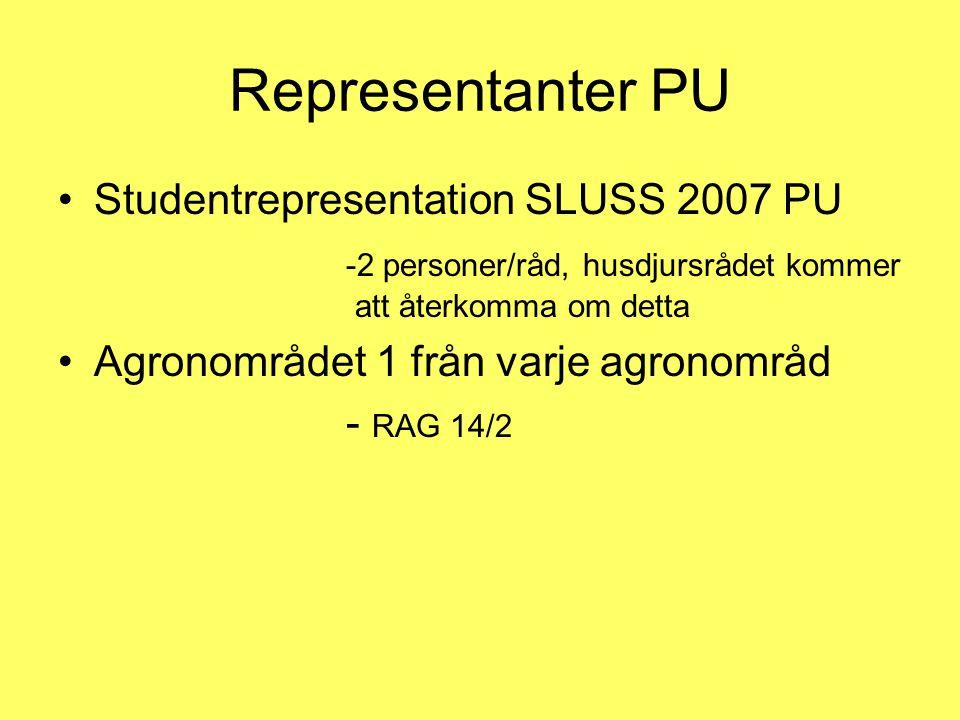 Representanter PU •Studentrepresentation SLUSS 2007 PU -2 personer/råd, husdjursrådet kommer att återkomma om detta •Agronområdet 1 från varje agronom