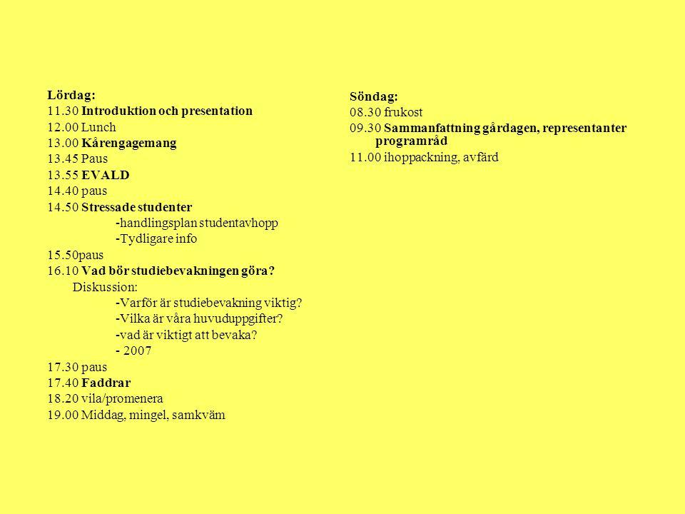 Lördag: 11.30 Introduktion och presentation 12.00 Lunch 13.00 Kårengagemang 13.45 Paus 13.55 EVALD 14.40 paus 14.50 Stressade studenter -handlingsplan studentavhopp -Tydligare info 15.50paus 16.10 Vad bör studiebevakningen göra.
