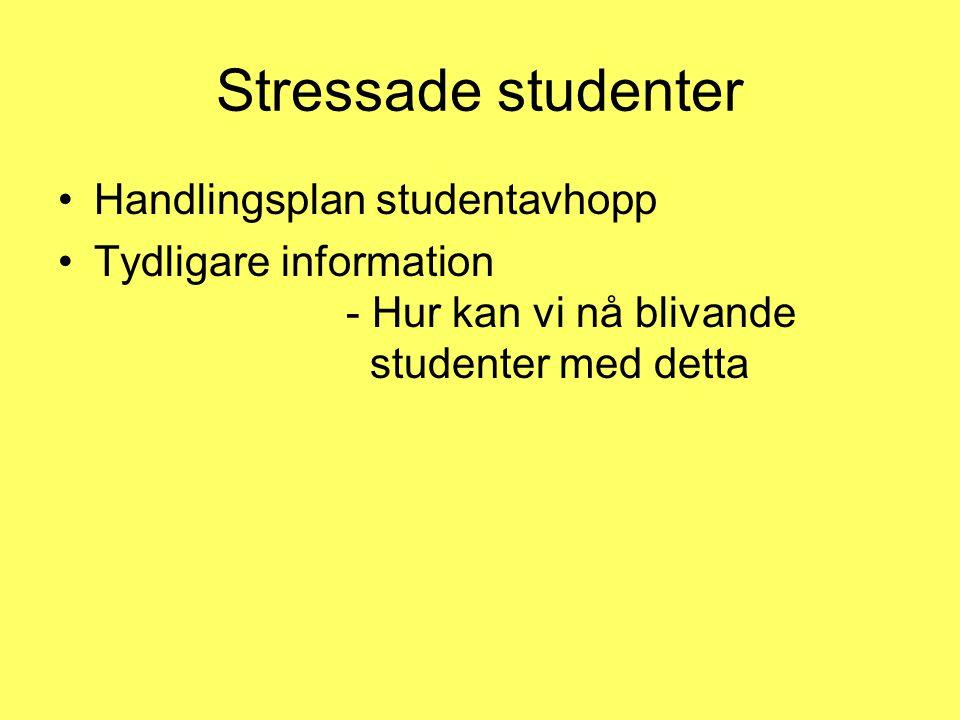 Stressade studenter •Handlingsplan studentavhopp •Tydligare information - Hur kan vi nå blivande studenter med detta
