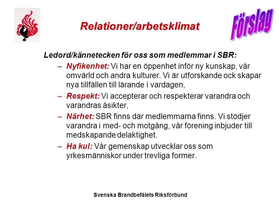 Svenska Brandbefälets Riksförbund Relationer/arbetsklimat Ledord/kännetecken för oss som medlemmar i SBR: –Nyfikenhet: Vi har en öppenhet inför ny kun
