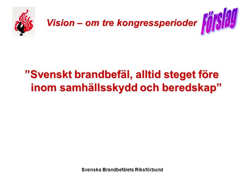 """Svenska Brandbefälets Riksförbund Vision – om tre kongressperioder """"Svenskt brandbefäl, alltid steget före inom samhällsskydd och beredskap"""""""