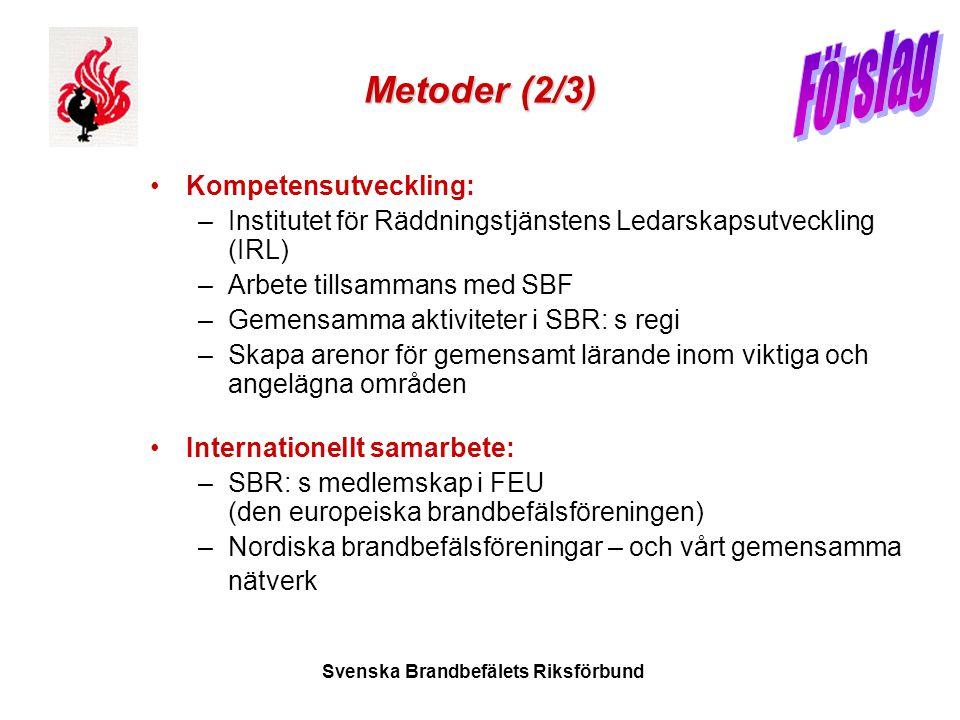 Svenska Brandbefälets Riksförbund Metoder (2/3) •Kompetensutveckling: –Institutet för Räddningstjänstens Ledarskapsutveckling (IRL) –Arbete tillsamman
