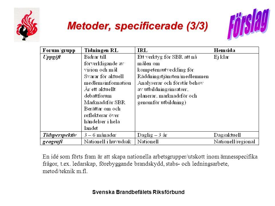 Svenska Brandbefälets Riksförbund Metoder, specificerade (3/3) En idé som förts fram är att skapa nationella arbetsgrupper/utskott inom ämnesspecifika