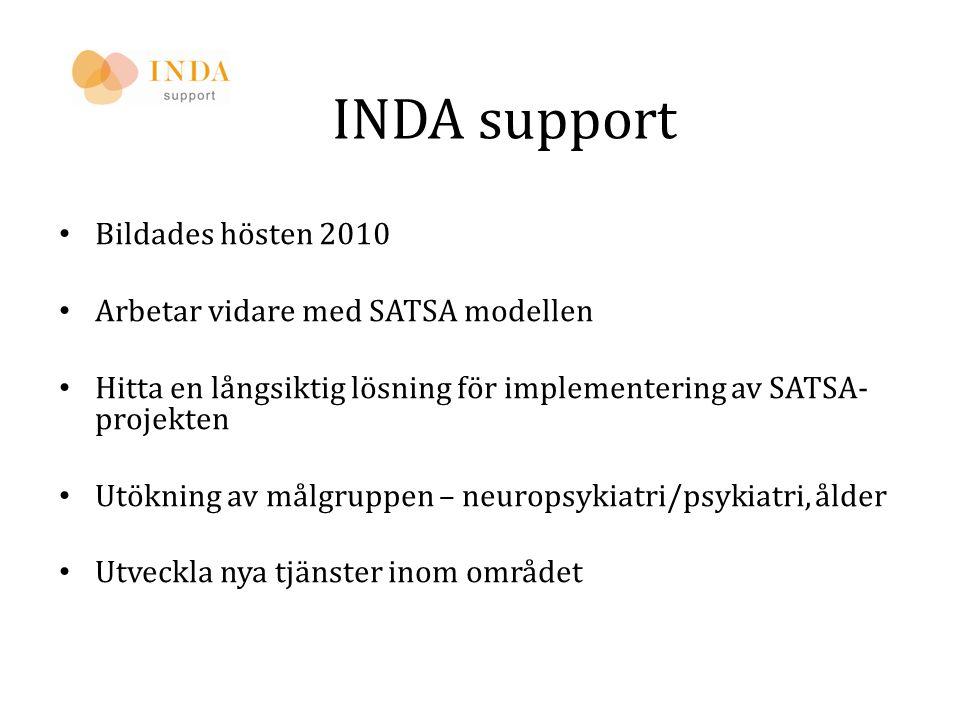 INDA support • Bildades hösten 2010 • Arbetar vidare med SATSA modellen • Hitta en långsiktig lösning för implementering av SATSA- projekten • Utöknin